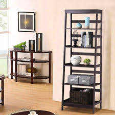Espresso Corner Bookcase Corner Ladder Shelf Display Wood Storage 5 Tier Espresso Finish