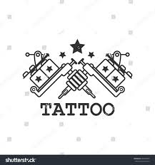mechanic tattoo drawing tattoo salon black white label two stock vector 607926422