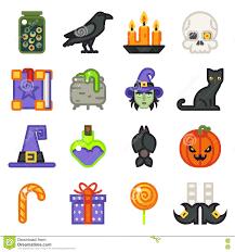 halloween witch magic icons set flat design line art vector