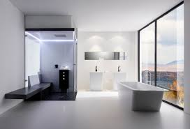 rectangle glass shower areas with grey shower bench on white