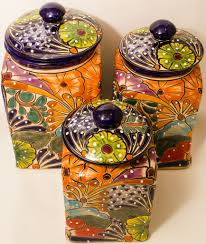 Fiesta Kitchen Canisters Talavera Pottery Canister Hand Painted Cookie Jar Set Of 3 Tcs002
