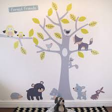 woodland animal wall stickers yellow and grey woodland animals and tree wall stickers wall stickers