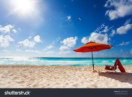 Beach Sun Umbrella Beautiful Orange Umbrella Panorama On White Stock Photo 208472053