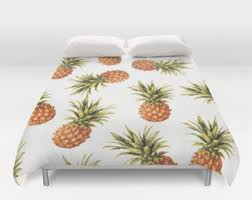 Tropical Duvet Covers Queen Pineapple Bedding Etsy