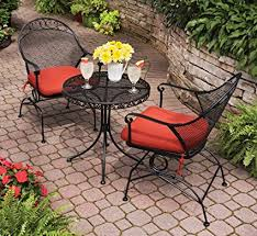 wrought iron bistro table and chair set amazon com outdoor wrought iron bistro set w free orange