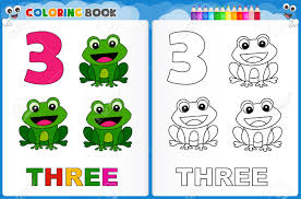 coloring page number three with colorful sample printable