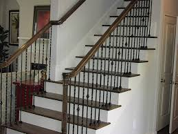 Staircase Spindles Ideas Wrought Iron Spindles Straight Stairs W Open To Below Wrought