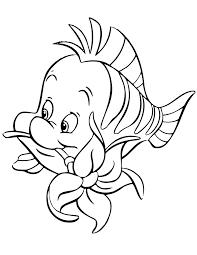 flounder biting flower cartoon coloring free printable