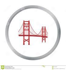 golden gate bridge icon in cartoon style isolated on white