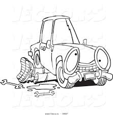 cartoon car drawing vector of a cartoon mechanic working under a car outlined