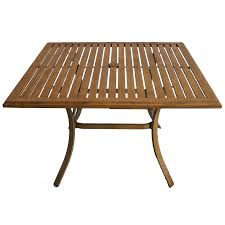 Wood Patio Dining Table by Shop Allen Roth Colby 45 In X 45 In Aluminum Square Patio Dining
