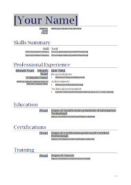 Skills Summary Resume Sample by Resumes Templates Microsoft Word Education Experience Additional