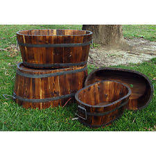Half Barrel Planters by Set Of 3 Wooden Half Barrel Pot Planter Outdoor Garden Plant