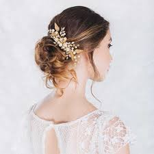 bridal hair accesories gold leave pearl and rhinestone bridal comb headpiece ewahp044 as