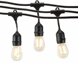 Patio Cafe Lights by Amazon Com Deneve Outdoor String Lights 48ft With Led Bulbs