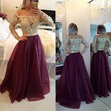 2017 long sleeves prom dresses gold illusion lace beaded burgundy