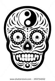 sugar skull day dead yin yang stock vector 293734652