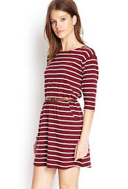 forever 21 stripe print belted dress in red lyst
