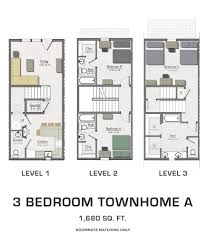 Best 3 Bedroom Floor Plan by Floor Plans For Msu Students Student Housing In East Lansing