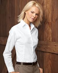 white ladies long sleeve oxford shirt from featherlite 5233