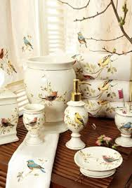 Porcelain Bathroom Accessories by Avanti Gilded Birds Collection Bath Accessories And Shower Curtain