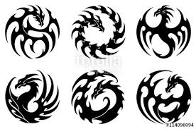 vector illustration set of round tribal dragon tattoo designs