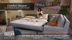 American Leather Comfort Sleeper Sale September 2017 Sales Promotions International Design Source