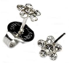 studex earrings ear piercing earrings clear flower