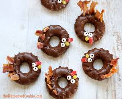 baked chocolate donut turkeys for a thanksgiving breakfast or treat