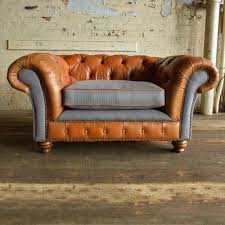 Chesterfield Sofa Price by Tan Leather U0026 Grey Wool Chesterfield Sofa Pedlars