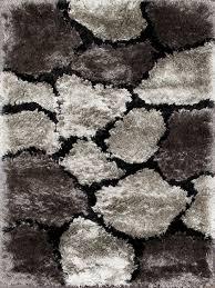 3x6 Rugs Rugsville Shiny Shag Black Gray Rug 22024 3x6