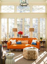 living room catchy orange sofa design for creative living room