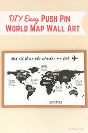 Wall Art World Map by Diy Easy Push Pin World Map Wall Art