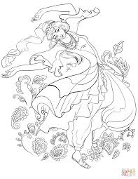 turkish woman dancing in traditional dress coloring page free