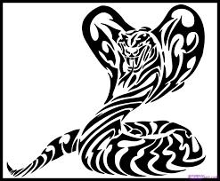 how to draw tribal cobra by tribal pop