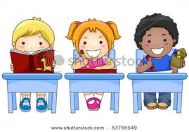 three students sitting in desk, cartoon students