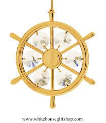 ornament gold boating wheel ornament swarovskiâ crystals