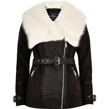 river island black faux suede coat in black lyst