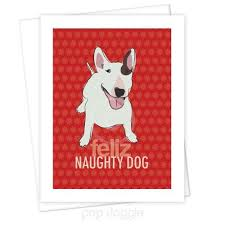 bull terrier christmas card feliz naughty dog pop doggie