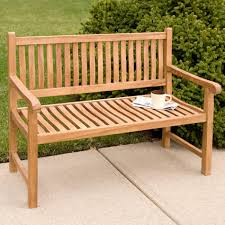 Outdoor Furniture Wood Holley 4 Ft Teak Outdoor Curved Back Bench Outdoor