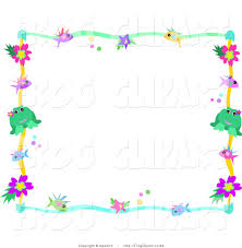 clip art of a colorful frame border of fish stars dots flowers