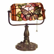 warehouse of tiffany 13 in butterfly multicolored brown desk lamp