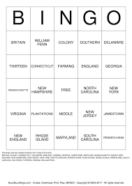 13 colonies bingo cards to download print and customize