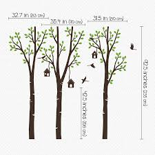 three trees with birds and birdhouse sticker by wall