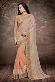 Peach Color Buy Peach Color Embroidered Designer Net Velvet Saree For Wedding