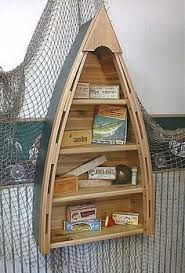 rustic wooden boat shelf via lakeviewcabindecor com coastal