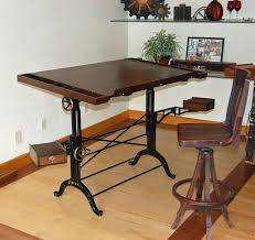 Kids Drafting Desk by Hand Crafted Walnut Iron And Bronze Dual Taboret Custom Drafting