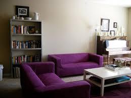 dark purple living room metal arc floor lamp brown upholstered