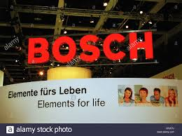 exhibition stand by bosch at the fair in berlin hometech stock