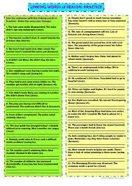 linking words of reason worksheet free esl printable worksheets